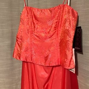 Watermelon colored prom dress 2 piece Size 8